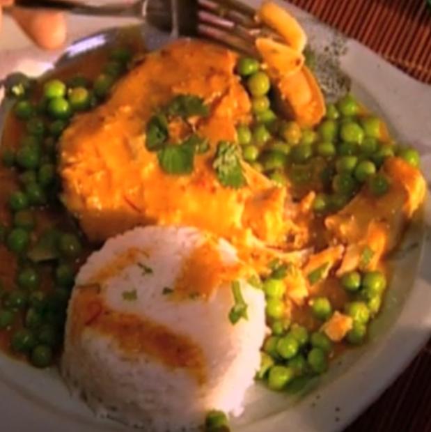 Curry de cabillaud aux petits pois