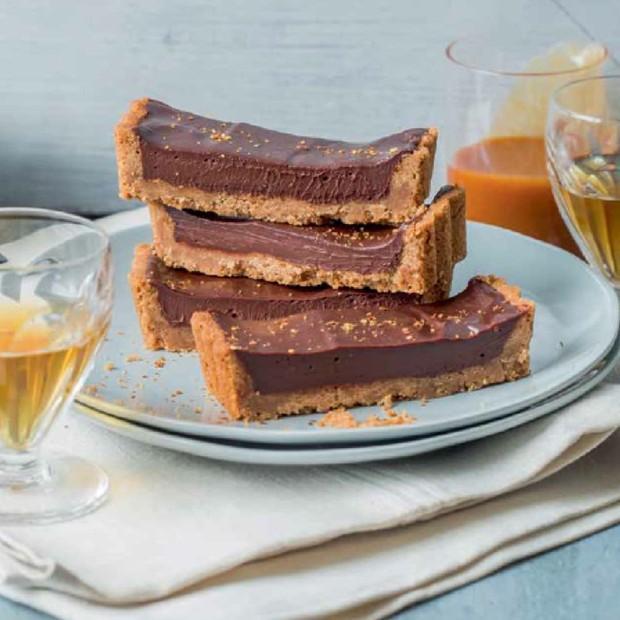 La tarte au chocolat, caramel de cidre et piment d'Espelette de Julie