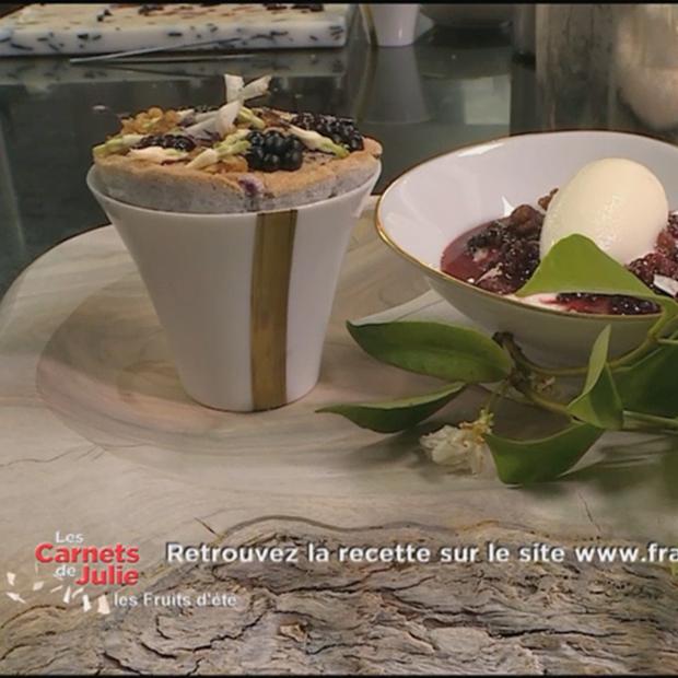 Soufflé à la mûre et au jasmin du Chef Arnaud Donckele