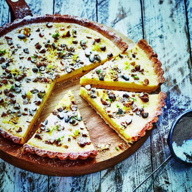 Tarte sablée à la ricotta, zeste de citron et pistaches