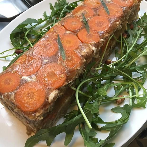 Compote de lapin en gelée de cidre et foie gras de Julie (inspirée de la recette de Véronique)