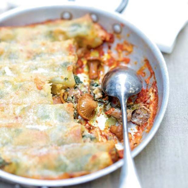 Cannelloni aux girolles ricotta épinards