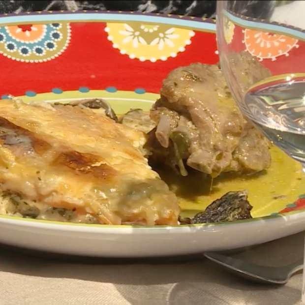 Chevreau à l'ail des ours et gratin de ravioles aux légumes d'Angélique