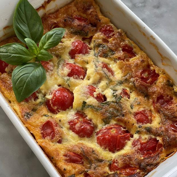 Clafoutis de tomates cerises au gorgonzola