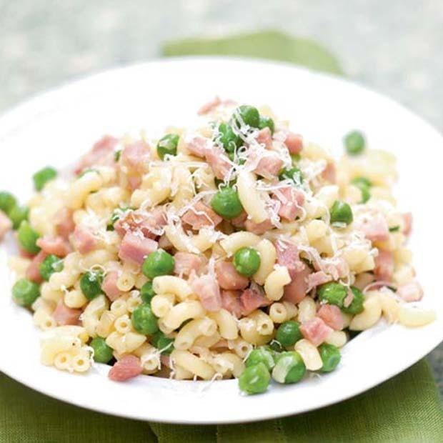 Coquilletto petits pois, jambon