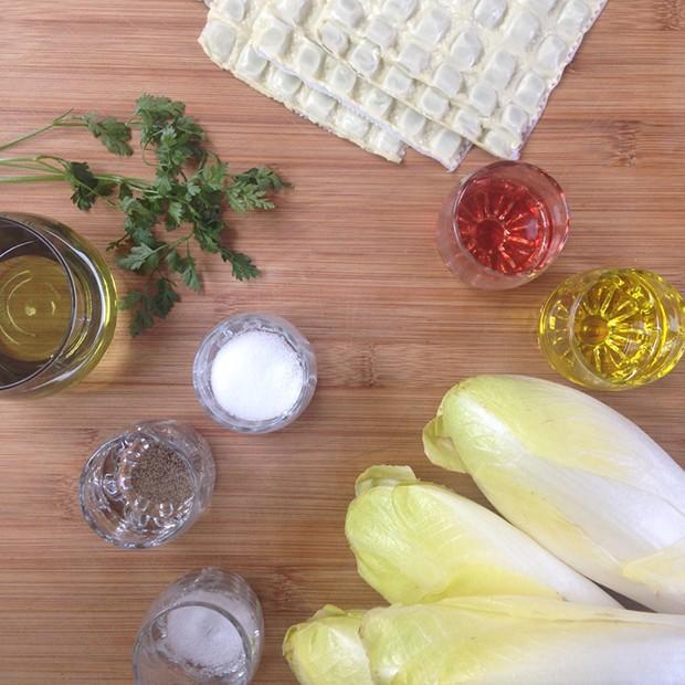 Salade d'endives aux ravioles croustillantes