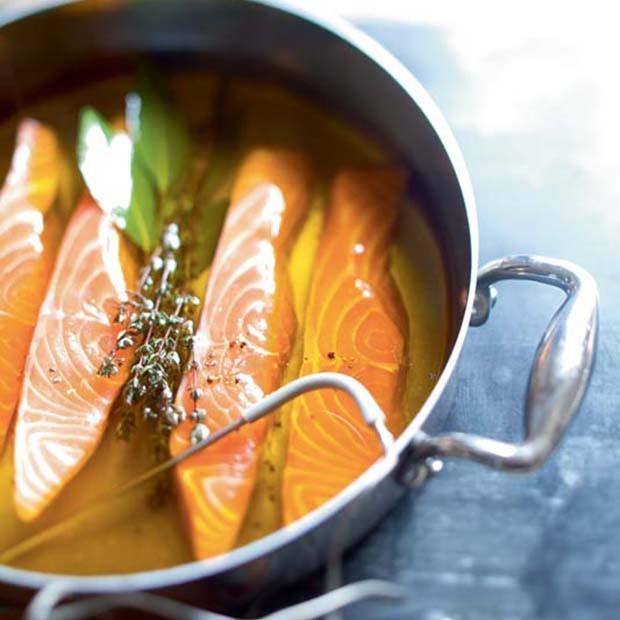 Saumon basse température et pesto de risoni à l'oseille