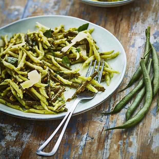 Trofie et haricots verts au pistou