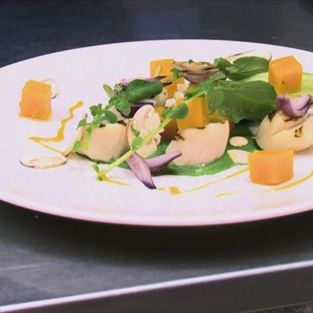 Saint-Jacques et butternut cuits au sel d'agrumes de Jean-Marie Baudic