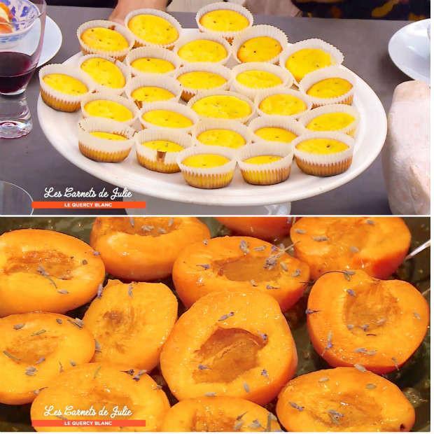 Muffins lavande-safran et abricots poêlés au miel de Marie-Hélène