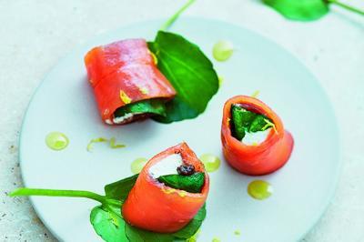 Rouleaux de saumon fumé au cresson