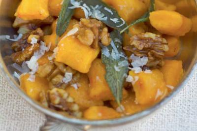 Gnocchis de potimarron noix fraîches et beurre de sauge